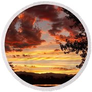 Dramatic Sunset Reflection Round Beach Towel