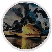 Dramatic Sunset Seascape Round Beach Towel