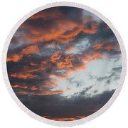 Dramatic Sunset Sky With Orange Cloud Colors Round Beach Towel