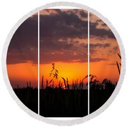 Dramatic Sunset Triptych Round Beach Towel
