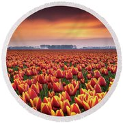 Dramatic Tulips Round Beach Towel