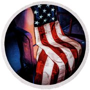 Draped American Flag Round Beach Towel