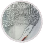 Drawing A Masterpiece  Round Beach Towel