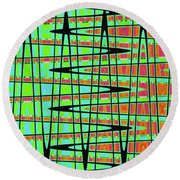 Drawing Abstract #5984wtct Round Beach Towel