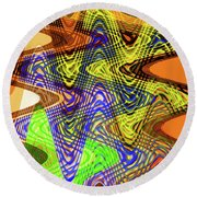 Drawing Color Squares Abstract Round Beach Towel