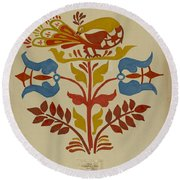 """Drawing For Plate 4: From Portfolio """"folk Art Of Rural Pennsylvania"""" Round Beach Towel"""