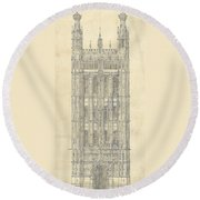 Drawing For The Houses Of Parliament Round Beach Towel