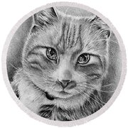 Drawing Of A Cat In Black And White Round Beach Towel