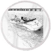 Drawing The Boat Round Beach Towel