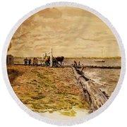 Drawing The Seine 1882 Round Beach Towel