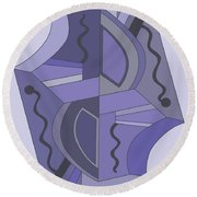Drawn2abstract229 Round Beach Towel