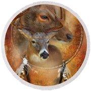 Dream Catcher - Autumn Deer Round Beach Towel