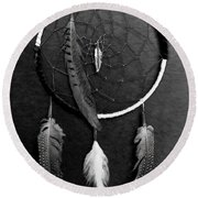 Dream Catcher Black White Round Beach Towel