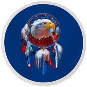 Dream Catcher - Eagle Red White Blue Round Beach Towel by Carol Cavalaris