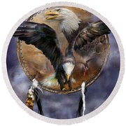 Dream Catcher - Spirit Eagle 3 Round Beach Towel