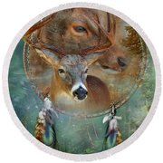 Dream Catcher - Spirit Of The Deer Round Beach Towel