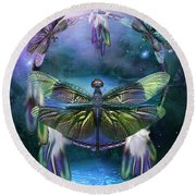 Dream Catcher - Spirit Of The Dragonfly Round Beach Towel