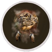 Dream Catcher - Spirit Of The Owl Round Beach Towel