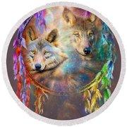 Dream Catcher - Wolf Spirits Round Beach Towel