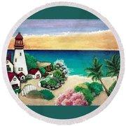 Dream Light House Round Beach Towel