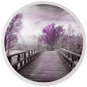 Dreaming At Dawn In Pink Round Beach Towel