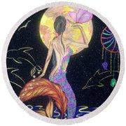 Dreaming Mermaid Round Beach Towel