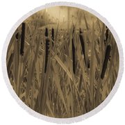 Dreaming Of Cattails Round Beach Towel