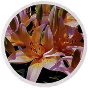 Dreaming Of Lilies 5 Round Beach Towel