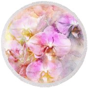 Dreaming Of Orchids Round Beach Towel