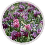 Dreaming Of Tulips Round Beach Towel