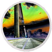 Dreaming Over The Skyway Round Beach Towel
