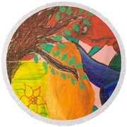 Dreaming Tree Abstract Round Beach Towel