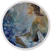 Dreaming Young Girl Round Beach Towel