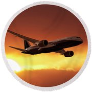Dreamliner In The Sun Round Beach Towel