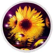 Dreams 4 - Sunflower Round Beach Towel