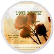 Dreams In Roses - Vintage - Verse Round Beach Towel