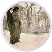 Dreamy Angel Monument Surreal Sepia Nature Round Beach Towel