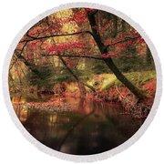 Dreamy Autumn Forest Round Beach Towel