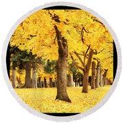 Dreamy Autumn Gold Round Beach Towel