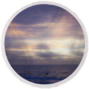 Dreamy Blue Atlantic Sunrise Round Beach Towel