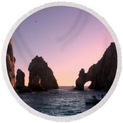 Dreamy Cabo Sunset The Arch Round Beach Towel