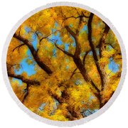 Dreamy Crisp Autumn Day Round Beach Towel