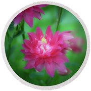 Dreamy Hot Pink Columbine Squared Round Beach Towel