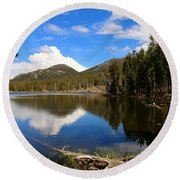 Dreamy Lake In The Rockies Round Beach Towel