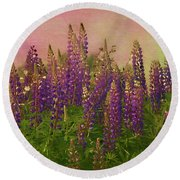Dreamy Lupin Round Beach Towel