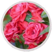 Dreamy Red Roses - Digital Art Round Beach Towel