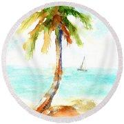 Dreamy Tropical Beach Palm Round Beach Towel