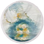 Dreamy World In Blue Round Beach Towel