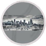 Dreary Denver Round Beach Towel
