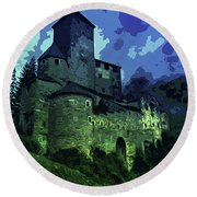 Dreary Fortress Round Beach Towel